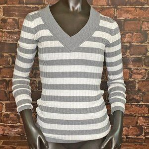 Poof! Gray & White Stripe Ribbed Sweater - Size S
